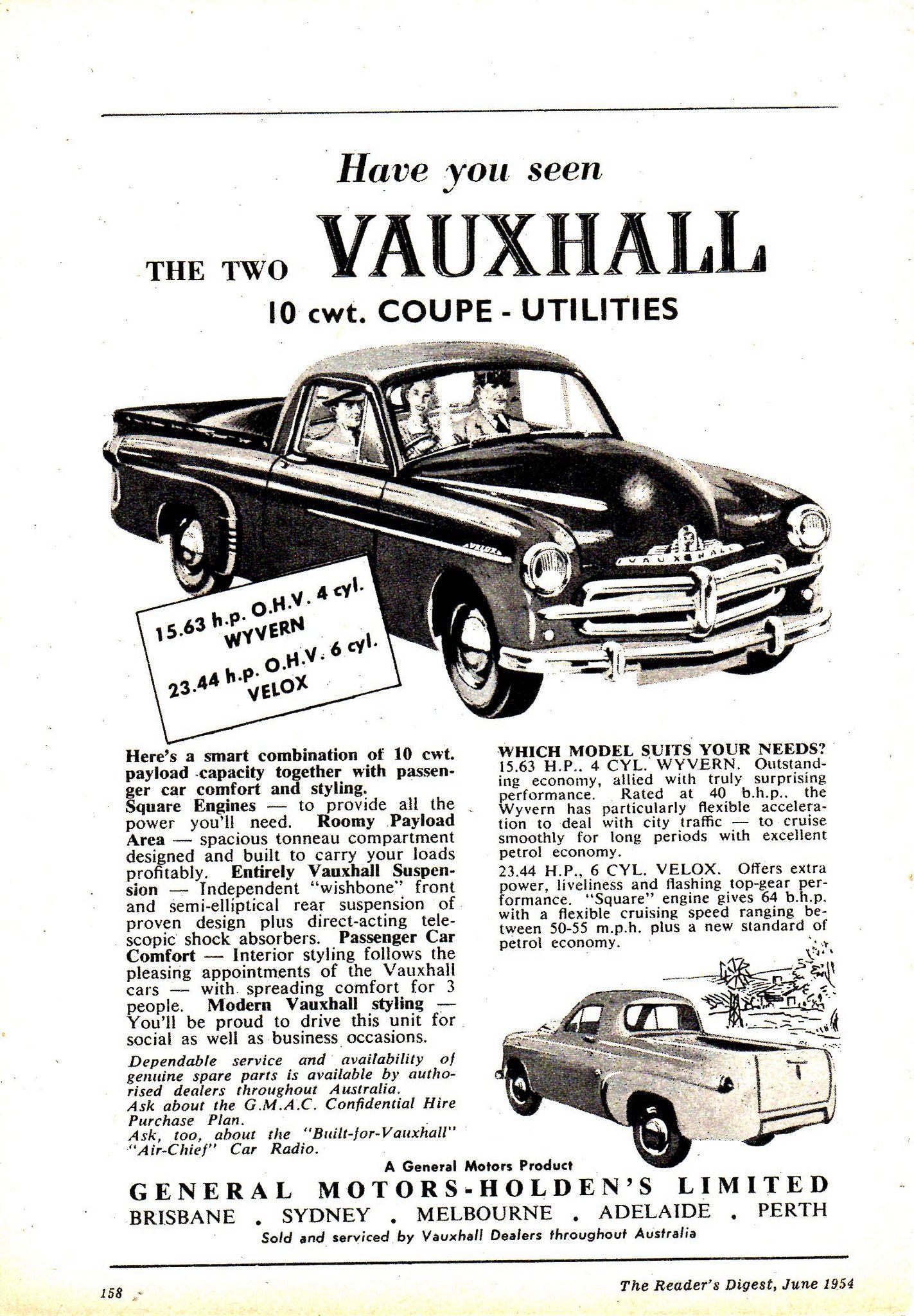 1954 Vauxhall Velox Wyvern 10 Cwt Coupe Utilities Aussie Original Magazine Advertisement Vauxhall Commercial Vehicle Australian Cars