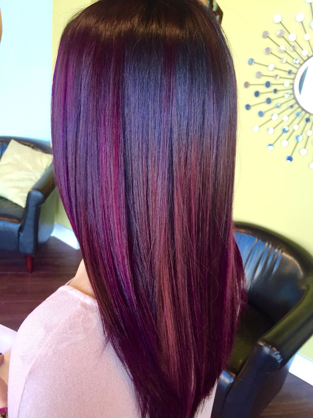 Joico Amethyst Purple Semi Color On Virgin Brown Hair With