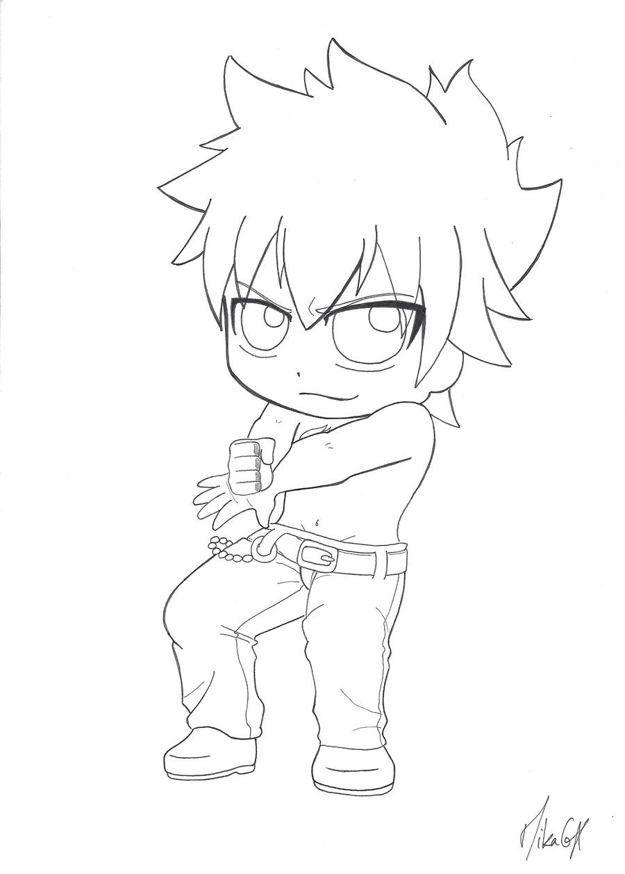 chibi grey fullbuster by mikagx on deviantart lineart fairy tail pinterest. Black Bedroom Furniture Sets. Home Design Ideas