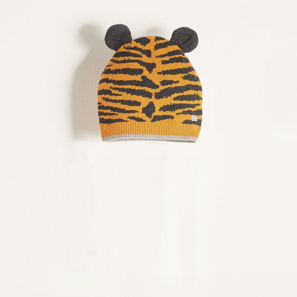 41aac73061c TITO - Unisex Kids Knitted Tiger Stripe Hat with Ears - Honey  thebonniemob   aw17