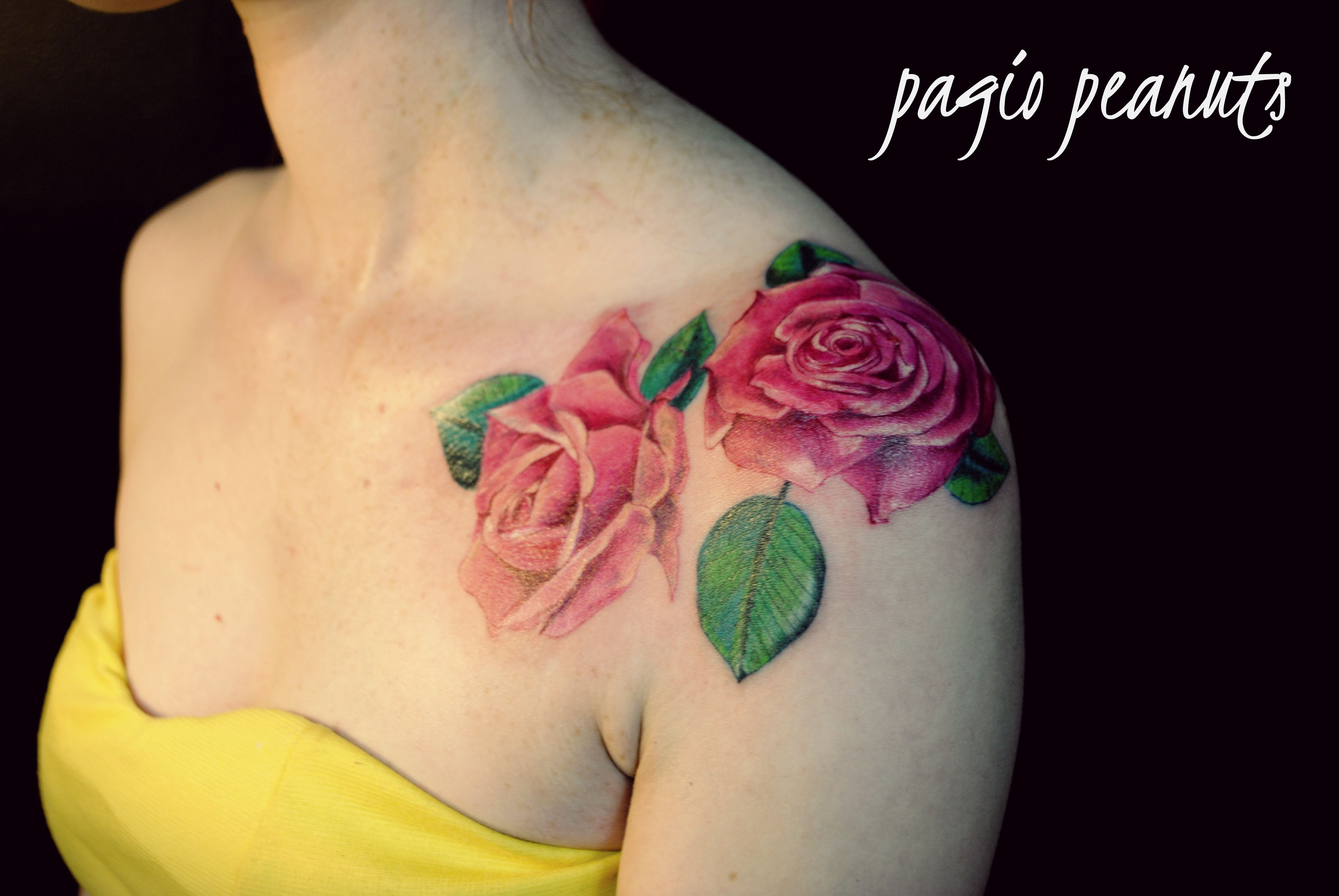 Realistic Pink Roses Tattoo Shoulder Tattoos Pinterest
