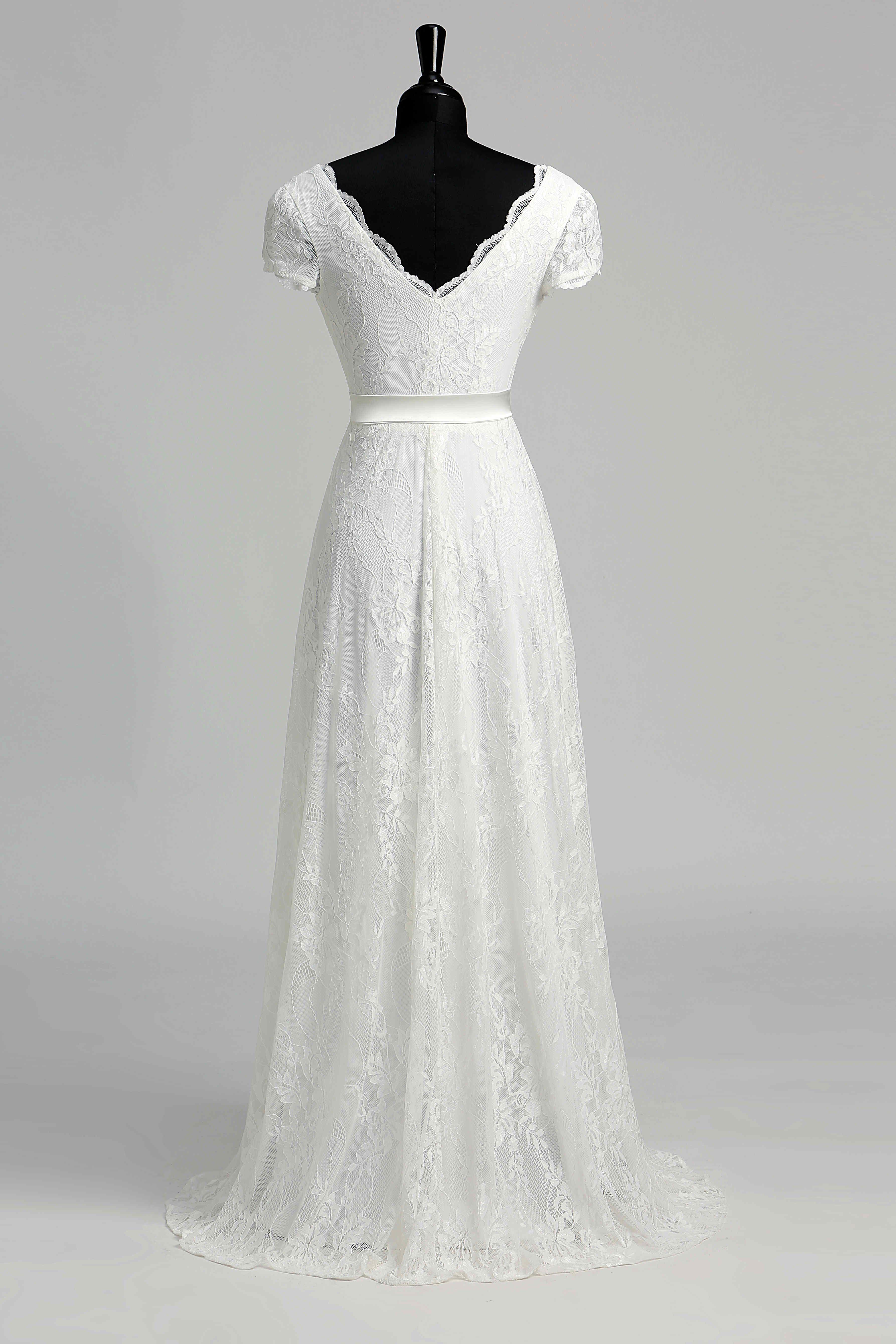 Elegant scalloped vneck long lace wedding dress june bridals