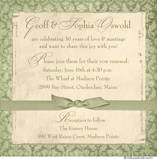 30th Anniversary Vow Renewal Invitation Design Casual Party Green