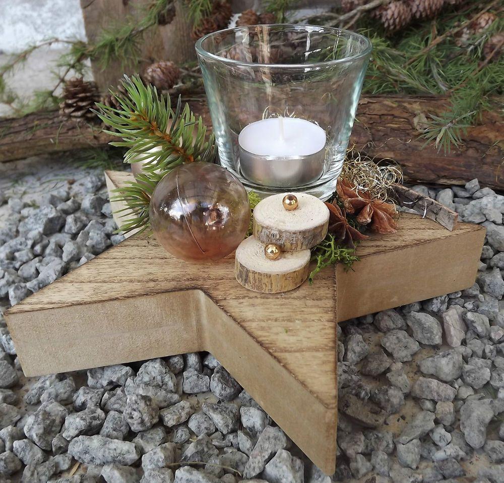 holzstern gesteck mit teelicht rose gold natur weihnachten. Black Bedroom Furniture Sets. Home Design Ideas