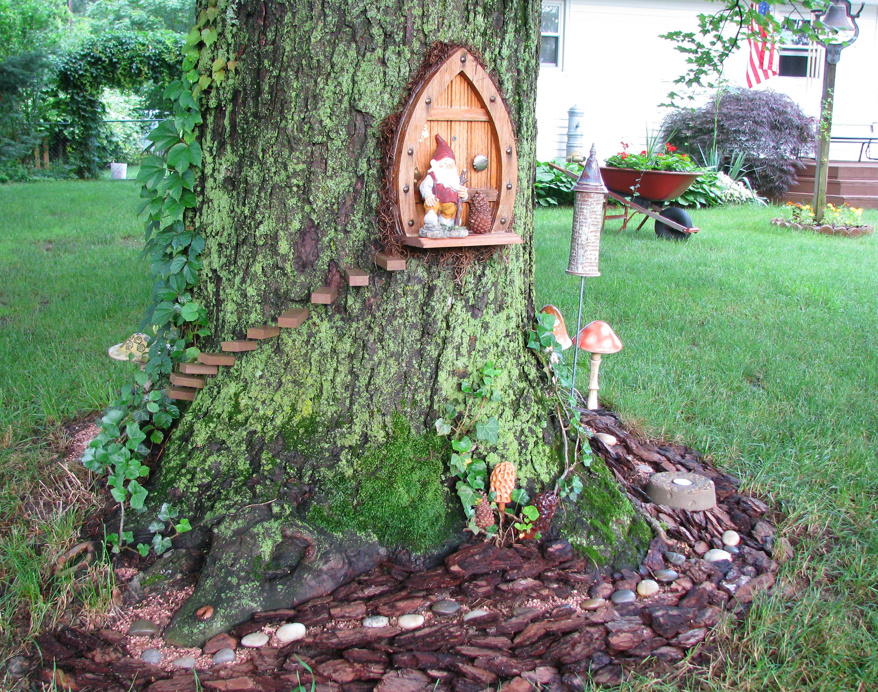Gnome In Garden: Same Tree As Gnome Home Back Door