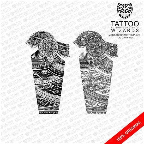 Samoan Warrior Sun Vector Tattoo Template Stencil - Tattoo Wizards - tattoo template