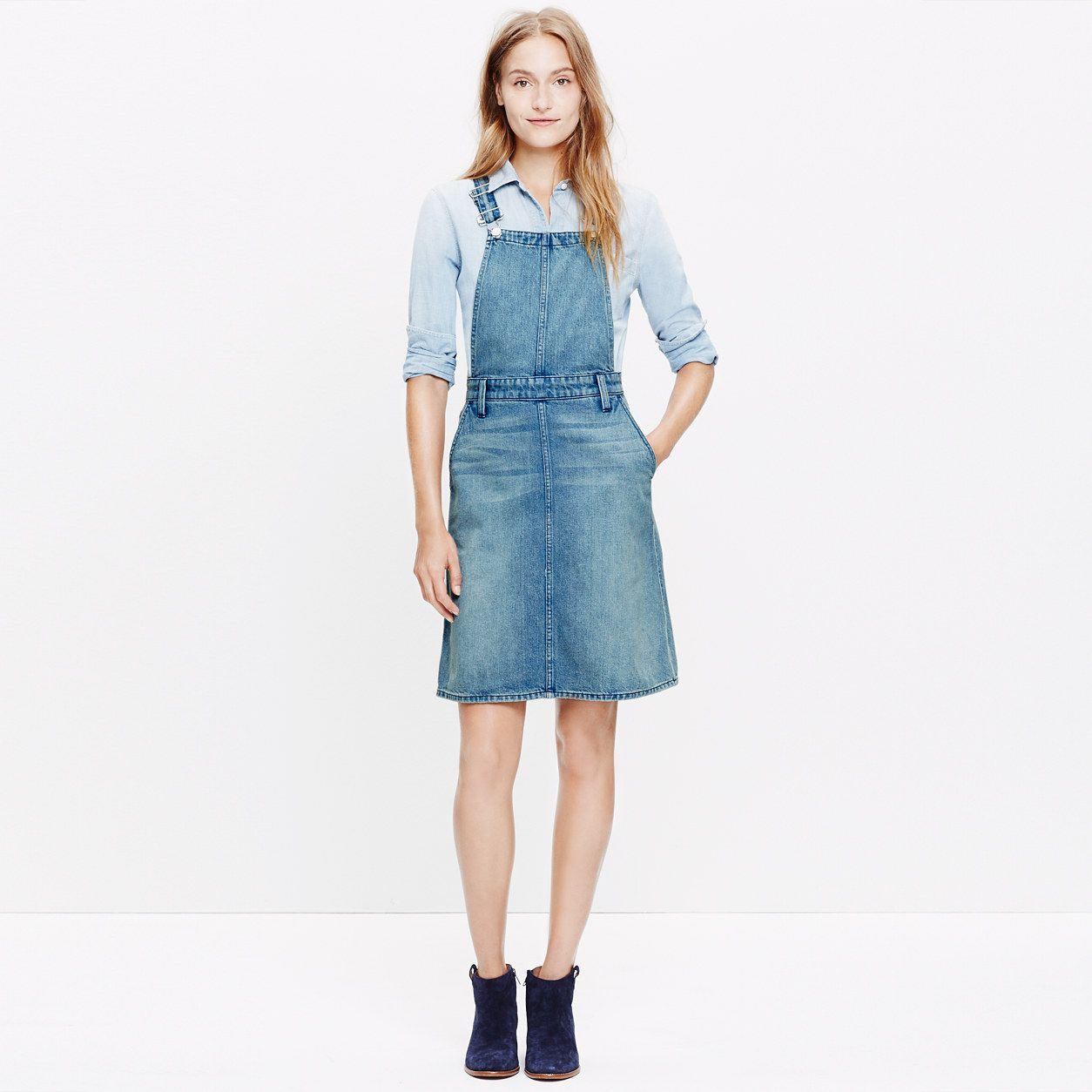 denim jumper dress dresses amp skirts madewell blue