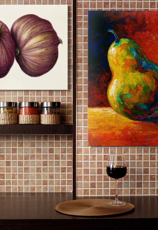 Kitchen Art - brightly colored pears.