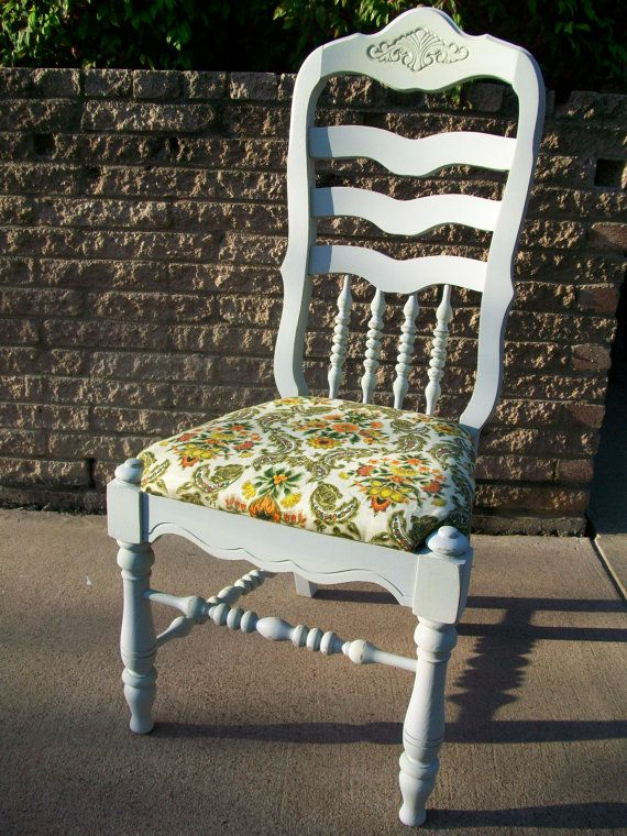 Sweet Grey Shabby Chic Reupholstered Chair SINGER By A2ndlife, $55.00