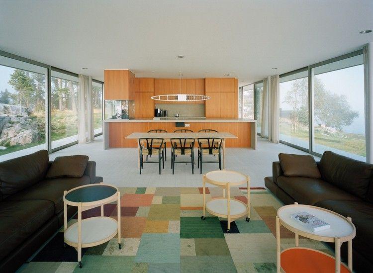 bodentiefe fenster wohnzimmer bunter teppich küche essbereich #house