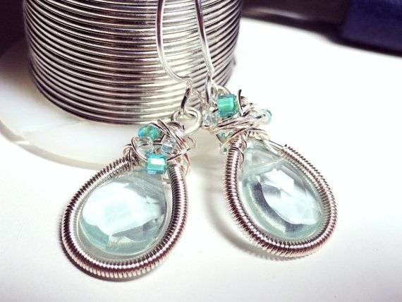 Iced Aqua Crystals in Coiled Frame SIlver Earrings by fatdogbeads, $35.00