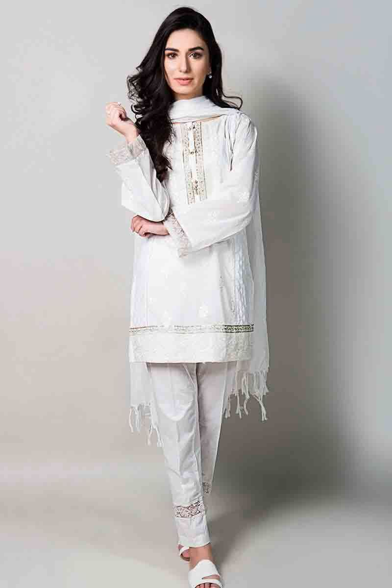 38a18191802 white short shirt with matching dupatta and pants latest maria b fancy party  wear eid dresses 2017 with price for girls