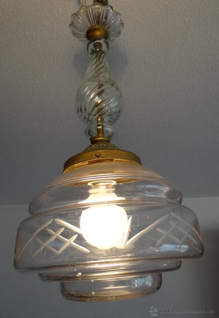 Antigua lampara de cristal funcionando anticuari2 gmail - Lamparas cristal antiguas ...