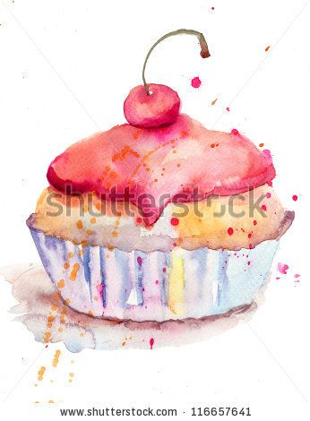 Watercolor illustration of cake by Regina Jershova, via Shutterstock