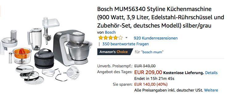Bosch MUM56340 Styline Küchenmaschine Pinterest - bosch küchenmaschine profi 67