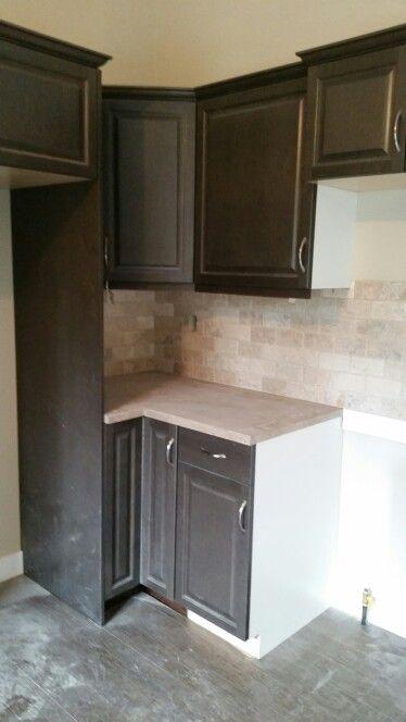 Kitchen Craft Maple Thunder Cabinets And Picasso Subway Style Backsplash Kitchen Crafts Kitchen Kitchen Backsplash