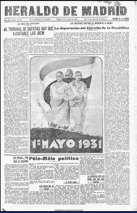 Habían pasado apenas 15 días desde la proclamación de la República en 1931 cuando llegó el primero de mayo, día del trabajo. Heraldo de Madrid se publicaba por la tarde y cubrió ampliamente los hechos del día en páginas interiores. En la portada incluyó una ilustración de gran tamaño y totalmente centrada, como queriendo realzar la prioridad que se le daba. La crónica de las manifestaciones destacó el ambiente apacible y masivo de los actos que tuvieron lugar en Madrid.