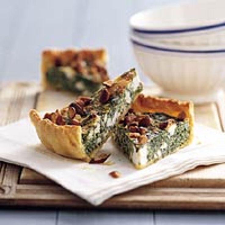 Een lekkere hartige taart met spinazie en geitenkaas.