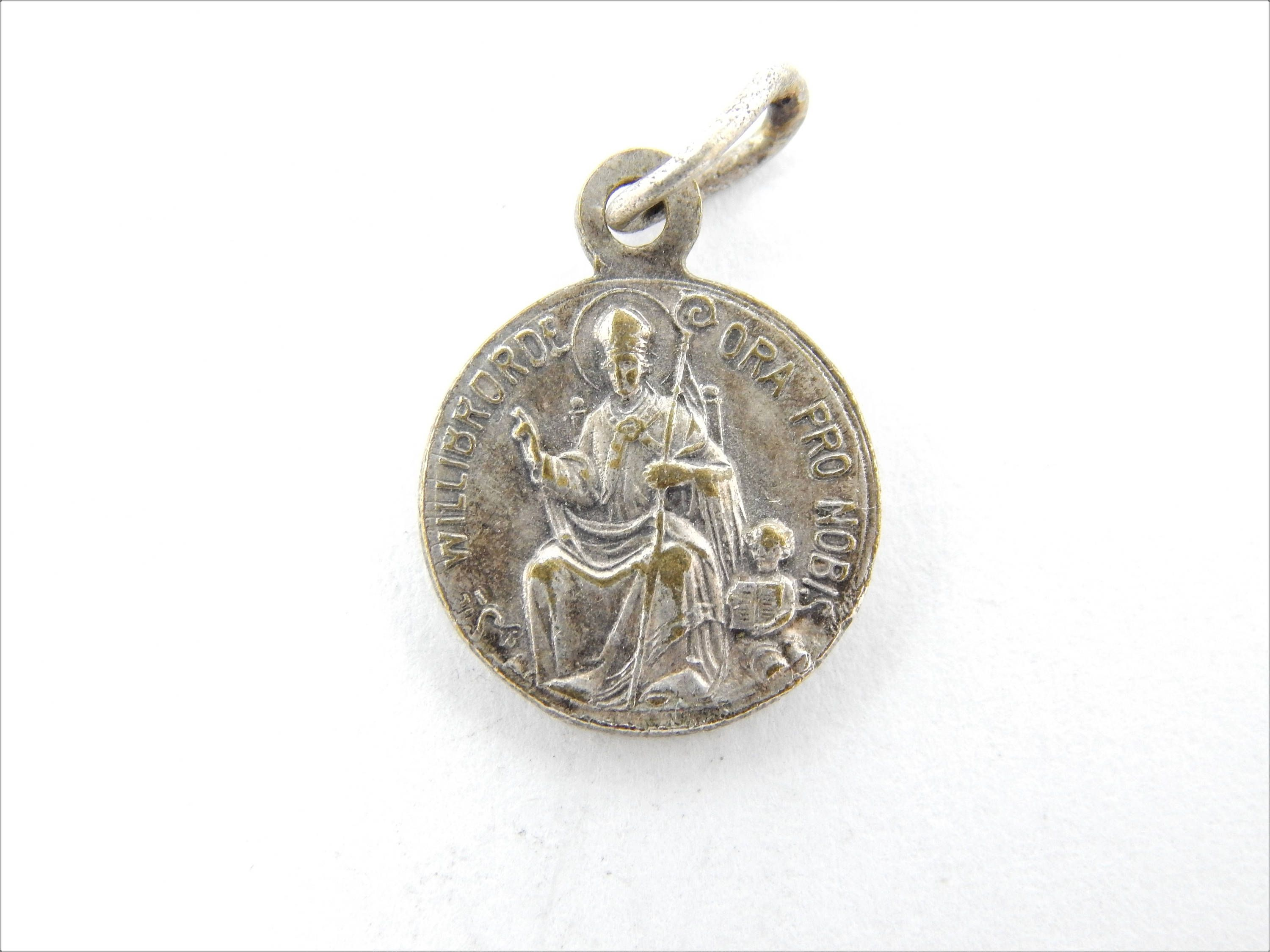 catholic charm anne antique scapular rare pin saint st religious sainte medallion bronze medal