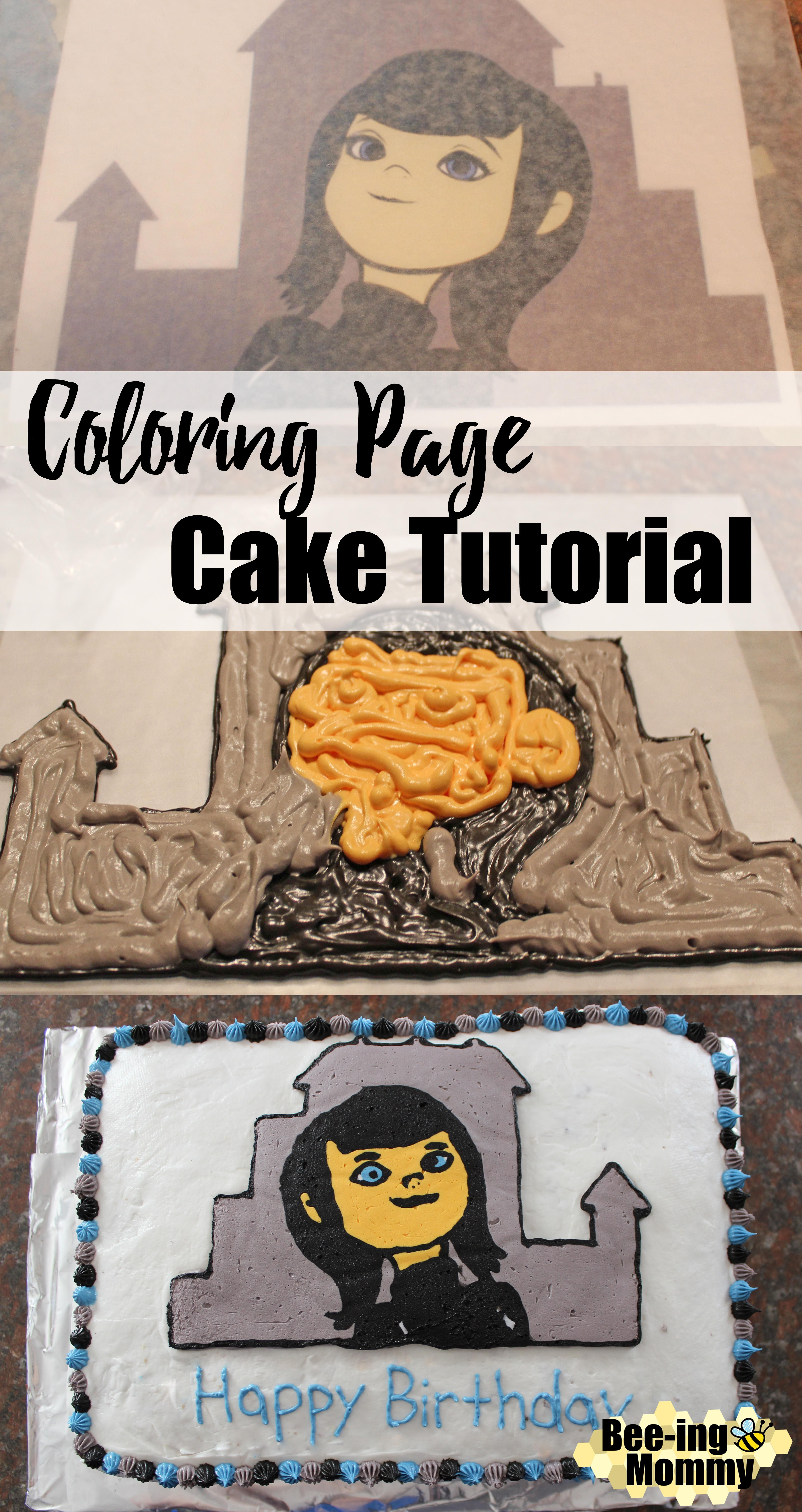 Coloring Page Cake Tutorial For Diy Character Cakes For Your Child S Birthday Party Cake Decorating Designs Cake Tutorial Cake Decorating Frosting