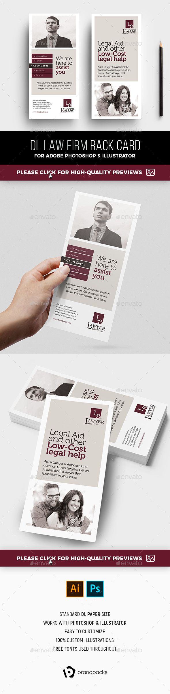 Law Firm Rack Card Template Card Templates Template And Photoshop - Rack card template photoshop