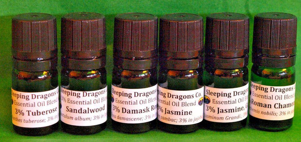 Set of 6, Premium Aromatherapy 3% Blends, Rose, Jasmine, Sandalwood, Chamomile #SleepingDragonsCompany