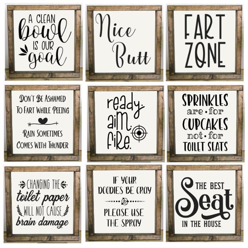 Bathroom Signs, Bathroom Humor, Framed Bathroom Sign, Fart Zone, Nice Butt, Best Seat In The House,
