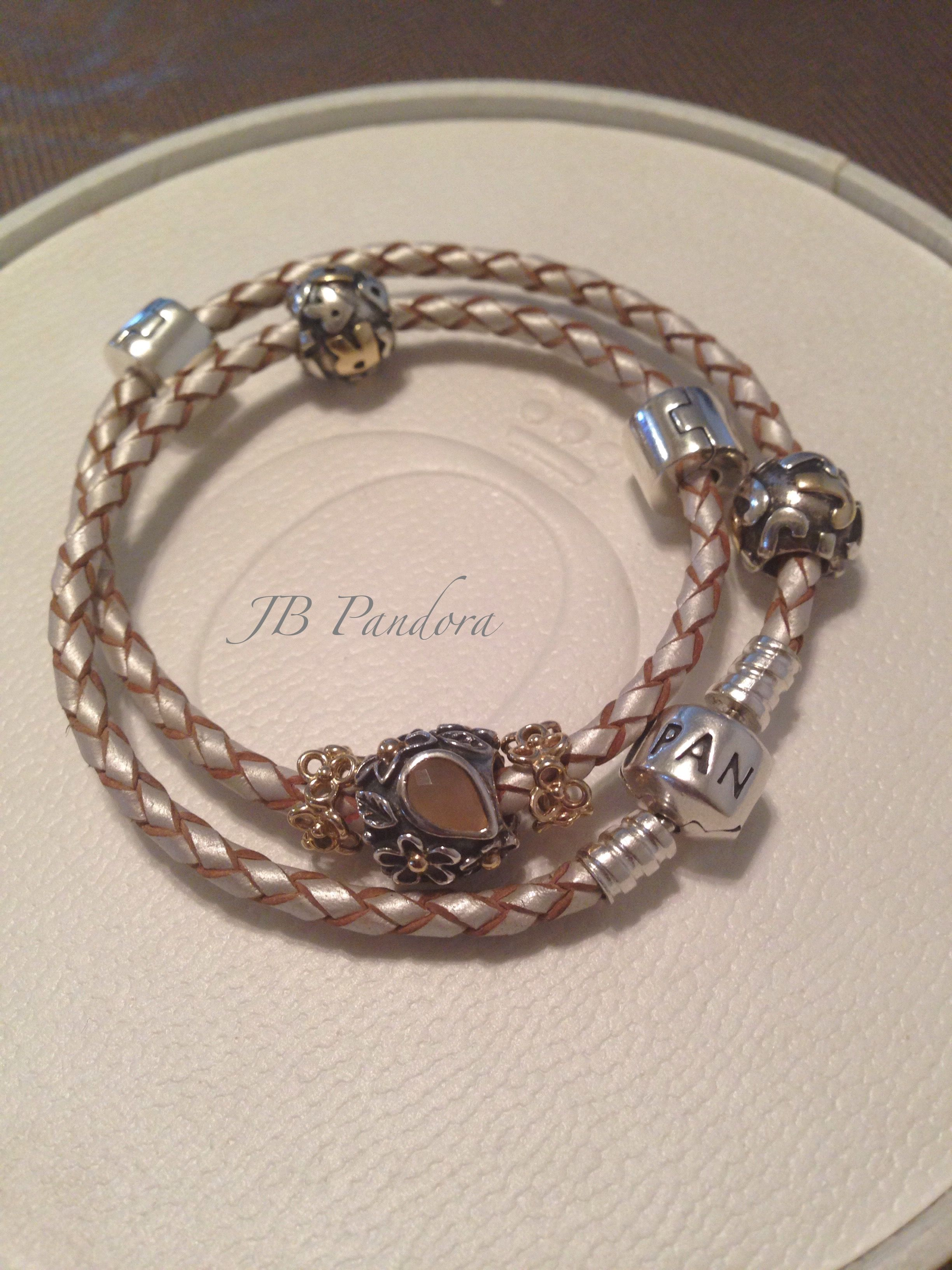 Pandora Champagne Leather Bracelet Moonstone Dew Drop And Retired Two Tone Initials
