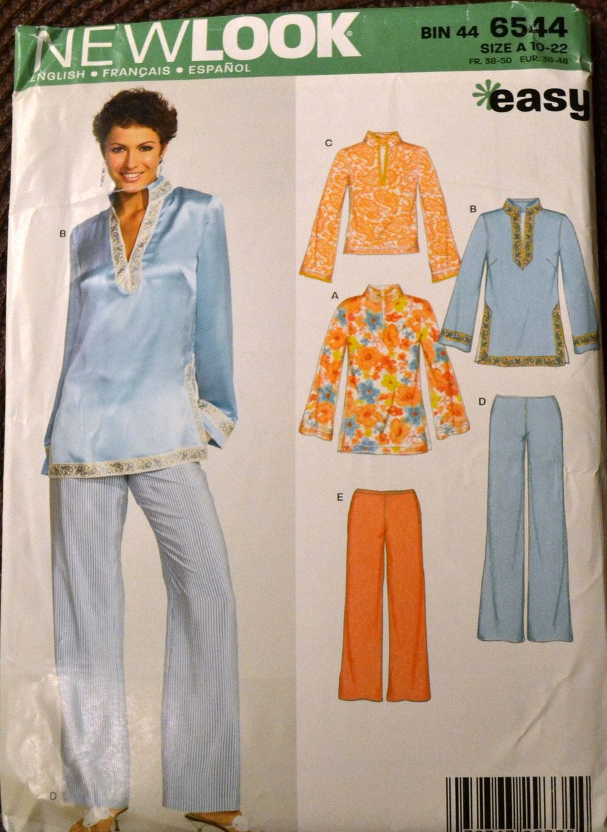 a1db3631ee5 Sewing Pattern New Look 6544 Misses  Pullover Top and Pants Bust 30-44  inches UNCUT Complete by GoofingOffSewing on Etsy