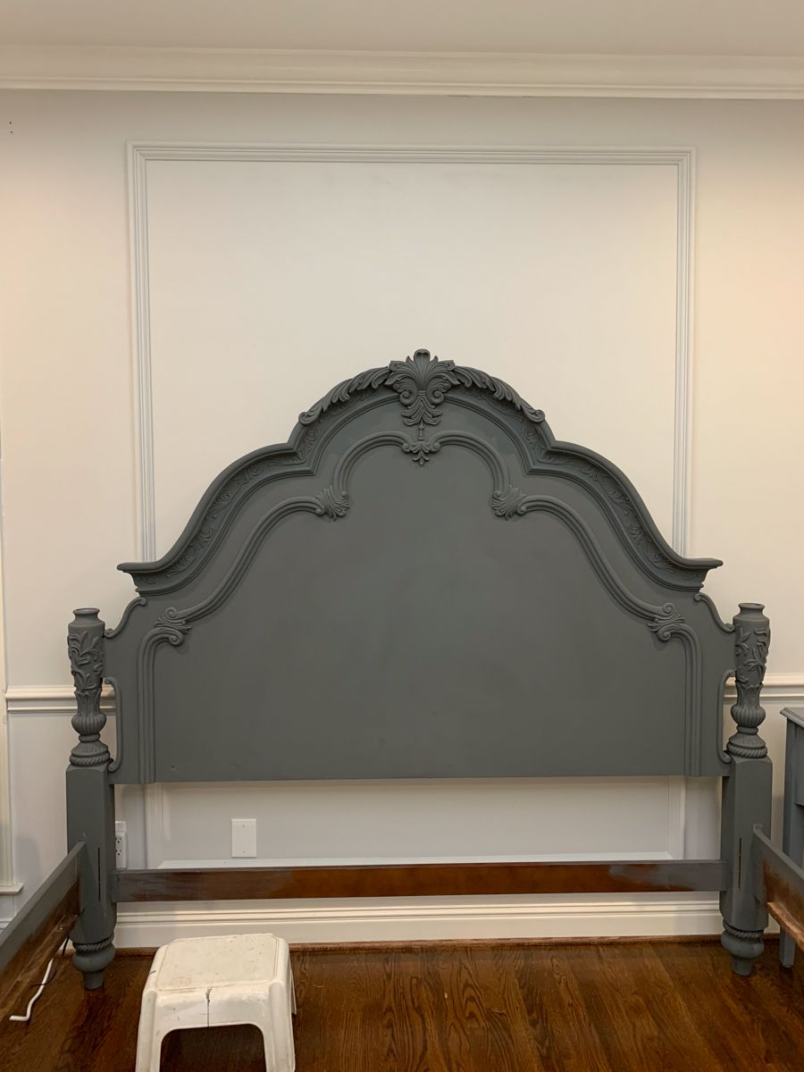 Fall One Room Challenge Week 5 Creating Shades Of Grey With Chalk Paint Painted Bedroom Furniture Chalk Paint Bedroom Furniture Painted Headboard