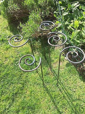 Set Of 5 Garden Plant Stakes Supports Hand Forged Spiral