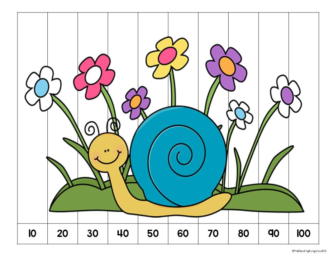 Number Counting Puzzles Snails Freebie