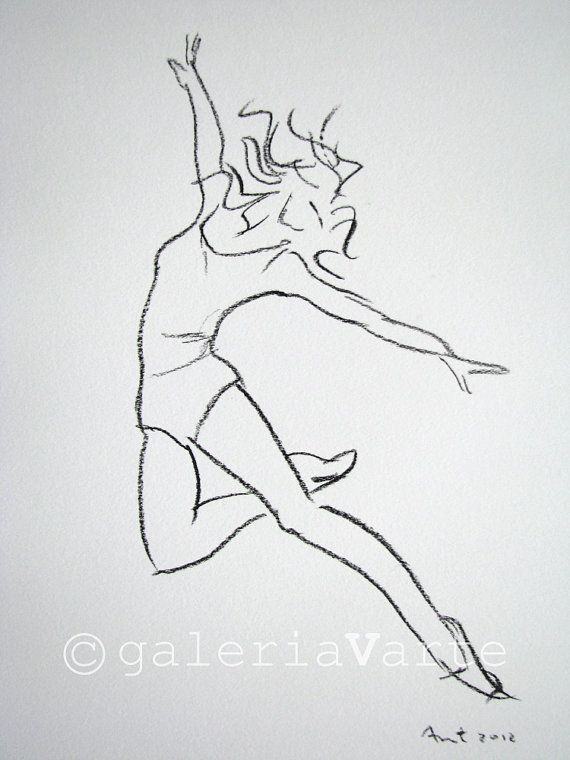 Charcoal drawing – modern dancer – original – europeanstreetteam
