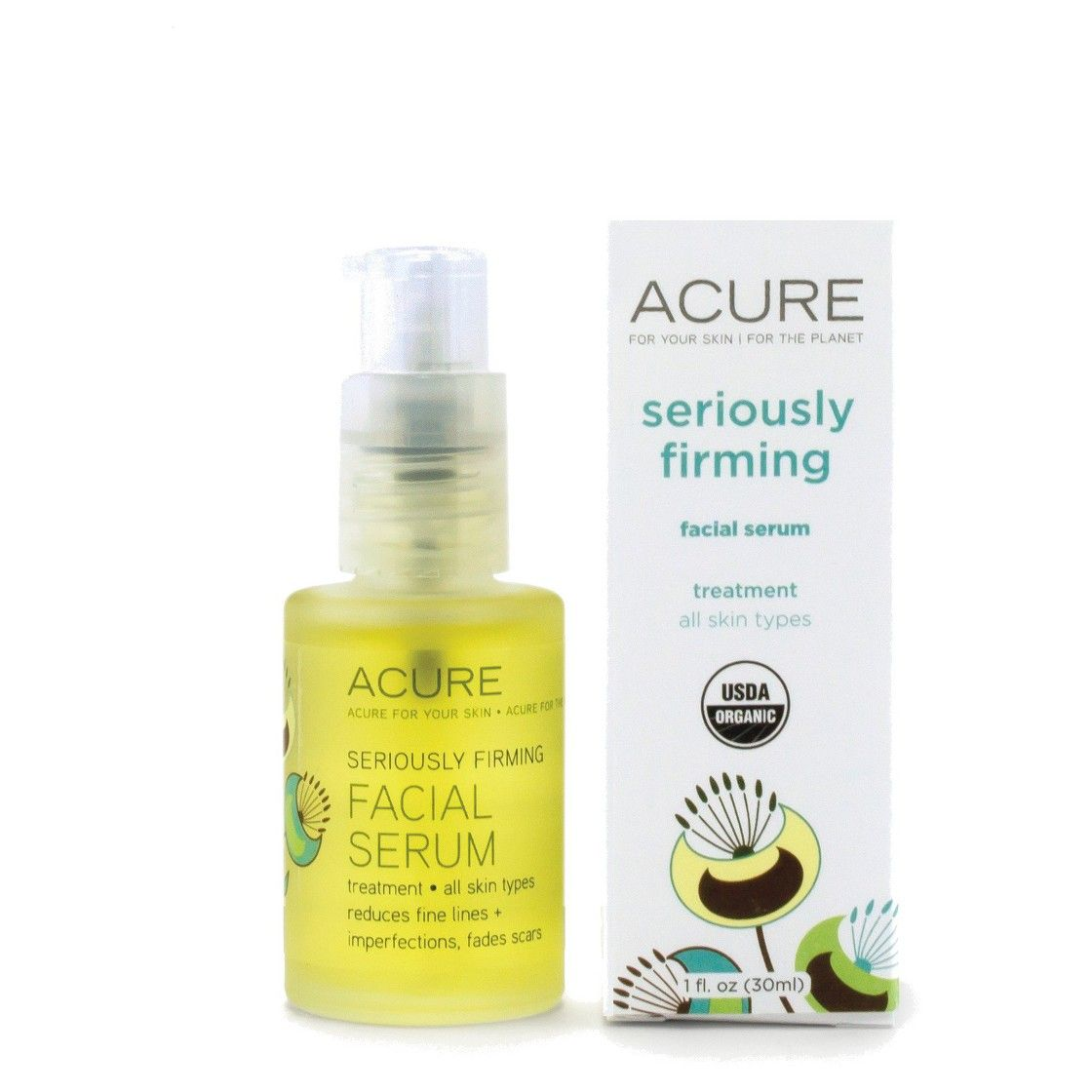 Acure Brightening Glowing Serum - 1 Fl Oz
