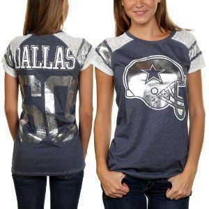 Amazon.com  Dallas Cowboys Women s Navy Burnout Fitted Big D Jersey T-Shirt   Sports   Outdoors 1ed49e88f