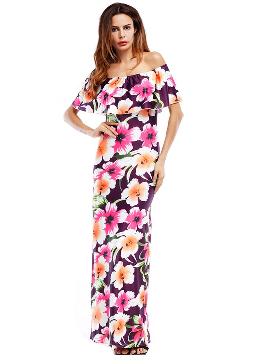 Women s off Shoulder Ruffle Floral Print Bodycon Maxi Dress in 2019 ... f0a3f86c2