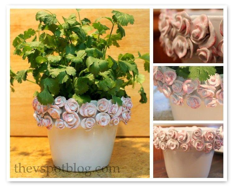 Upcycle project: plain flower pot into decorative ceramic planter. #flowerpotsoutdoor