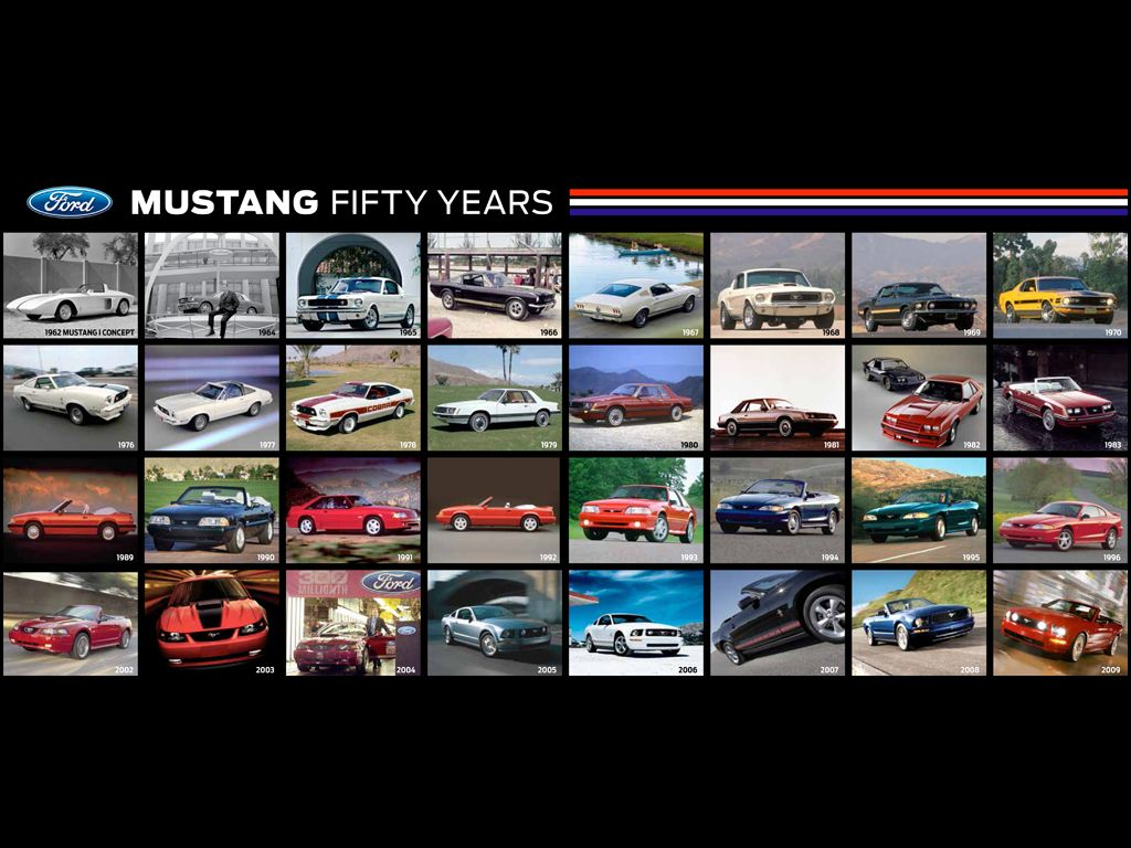50th anniversary ford mustang timeline poster