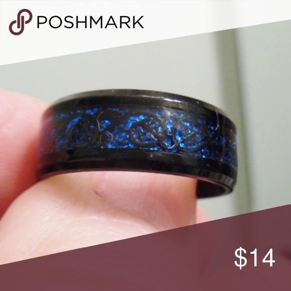 8mm Tungsten Ring Black Celtic Dragon Blue Sz 10 Nwt Womens Jewelry Rings Black Tungsten Rings Black Rings