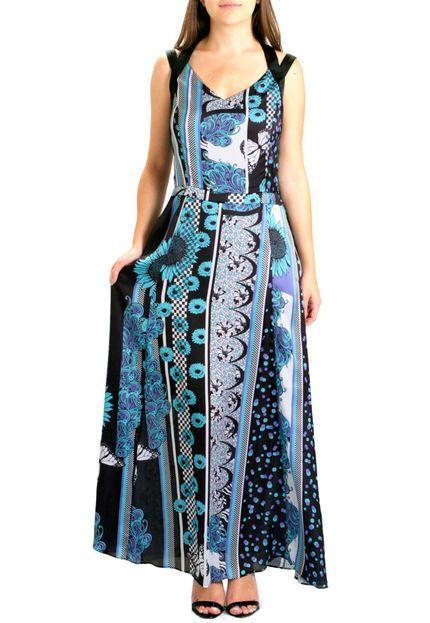Vestido Longo 101 Resort Wear De Cetim Multicolorido - Marca 101 Resort Wear