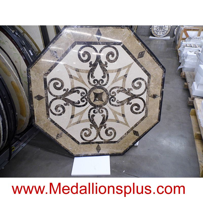 Kristine 36 Octagon Waterjet Cut Floor Medallion