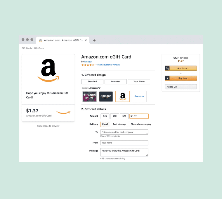 An Easy Amazon Hack To Help You Use That Last 67 Cents On Your Prepaid Gift Card Gift Card Gift Card Balance Gift Card Design