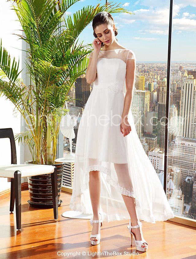 142eaa04b6 Lanting Bride® A-line Petite   Plus Sizes Wedding Dress Asymmetrical Bateau  Chiffon with 2016 -  109.99