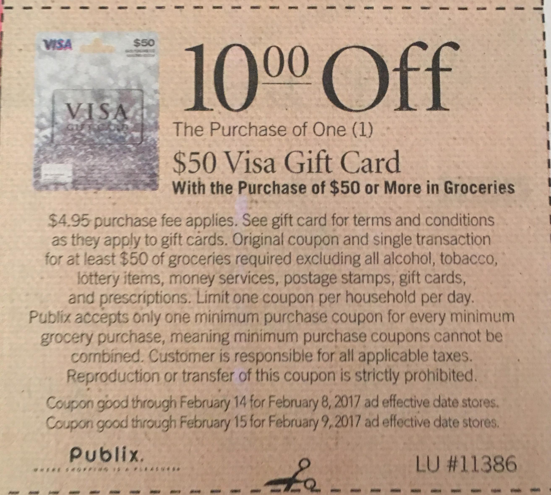 $10 Off 50 Visa Gift Card > Publix -