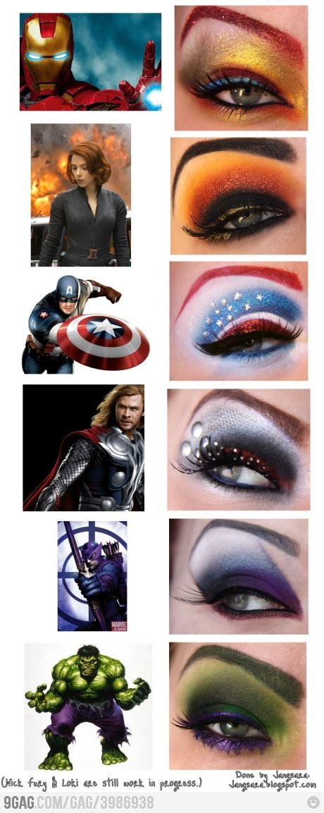 Avengers Eye Makeup! Doing this when we go see the movie next weekend!!! :) Tony is too excited for this movie... :P