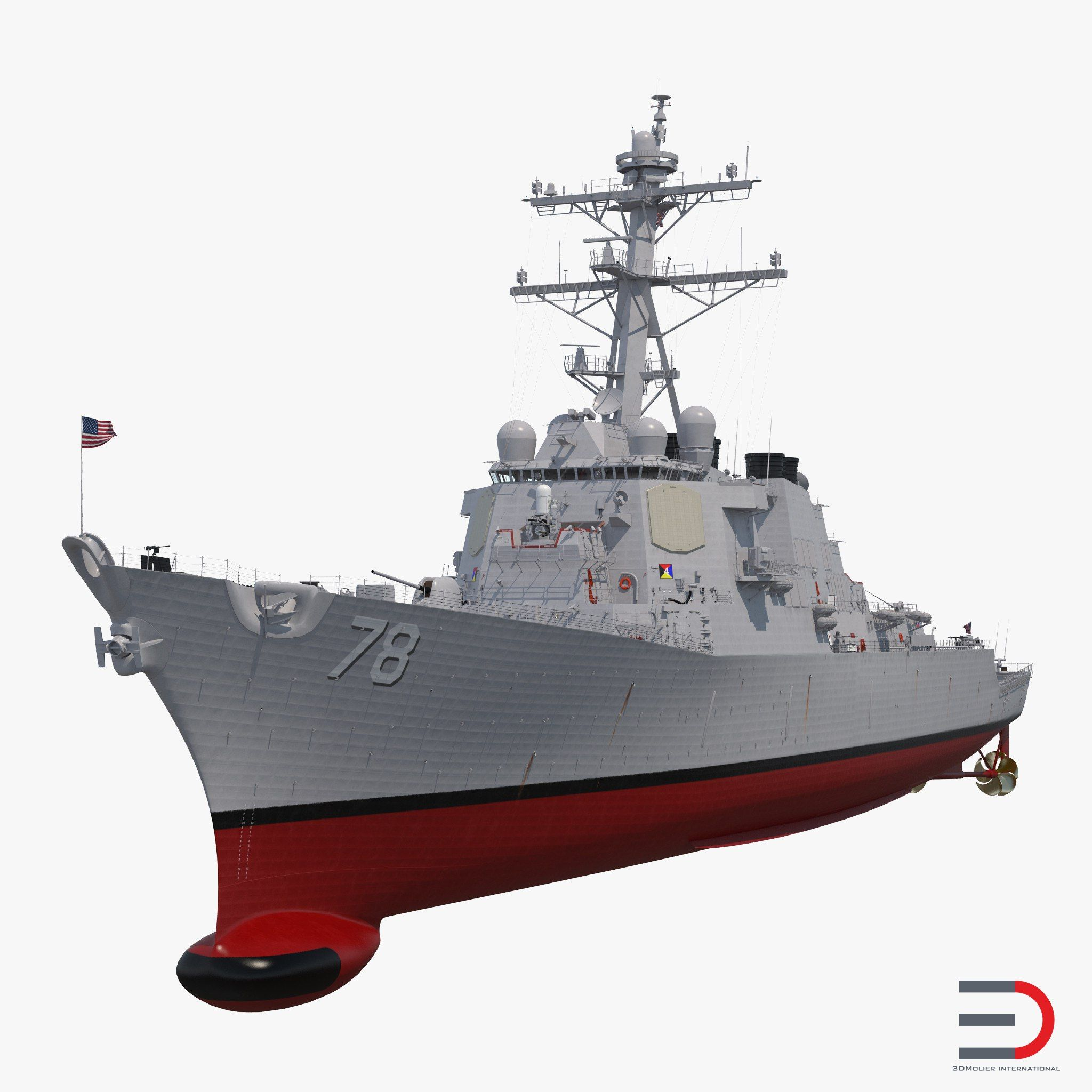 Arleigh Burke Destroyer Porter DDG-78 3D model