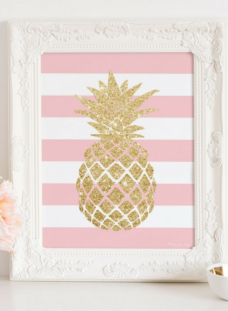 Cute Pineapple Print, Pineapple Art, Pink and Gold Glitter Pineapple ...