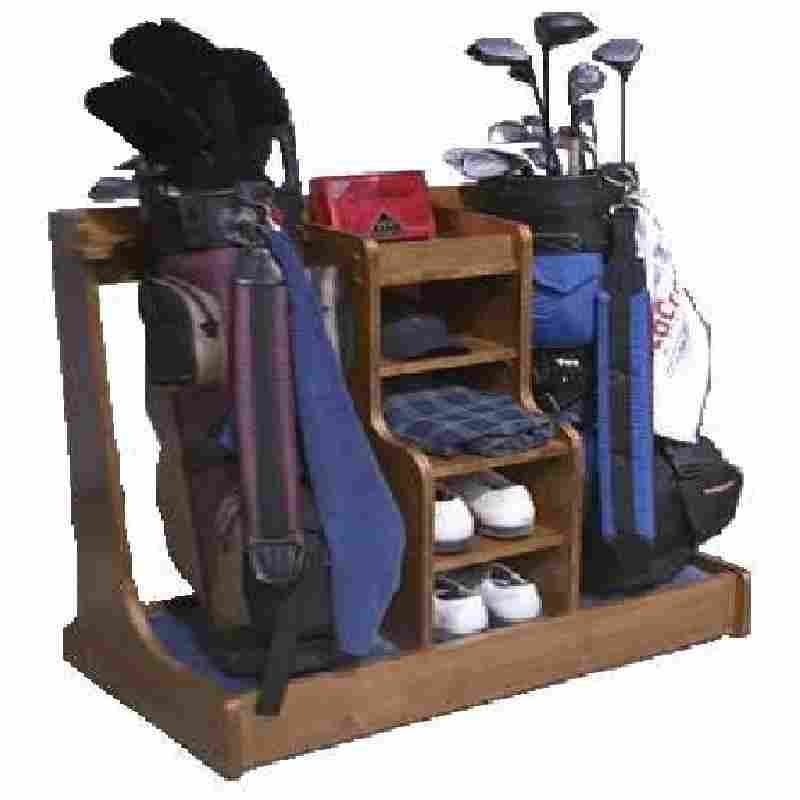 I Made This From 1 Sheet Of MDF Plywood, It Has Been A Real Hit With My  Golfing Buddies. As You Can See It Holds 2 Golf Bags And The Shelves Give  ...