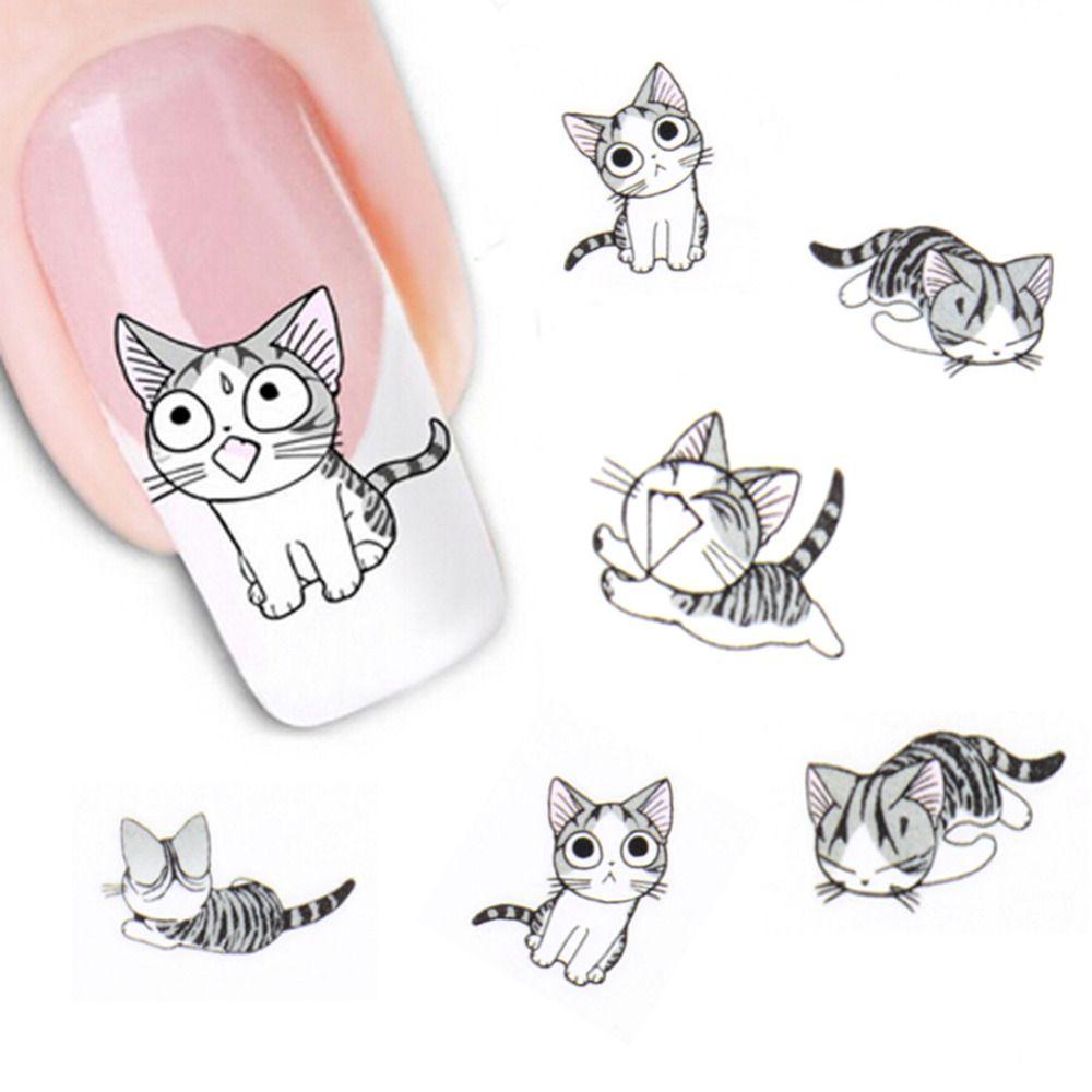 Neue Mode Schöne Süße Wassertransfer 3D Grau Nette Katze Nagelkunst ...