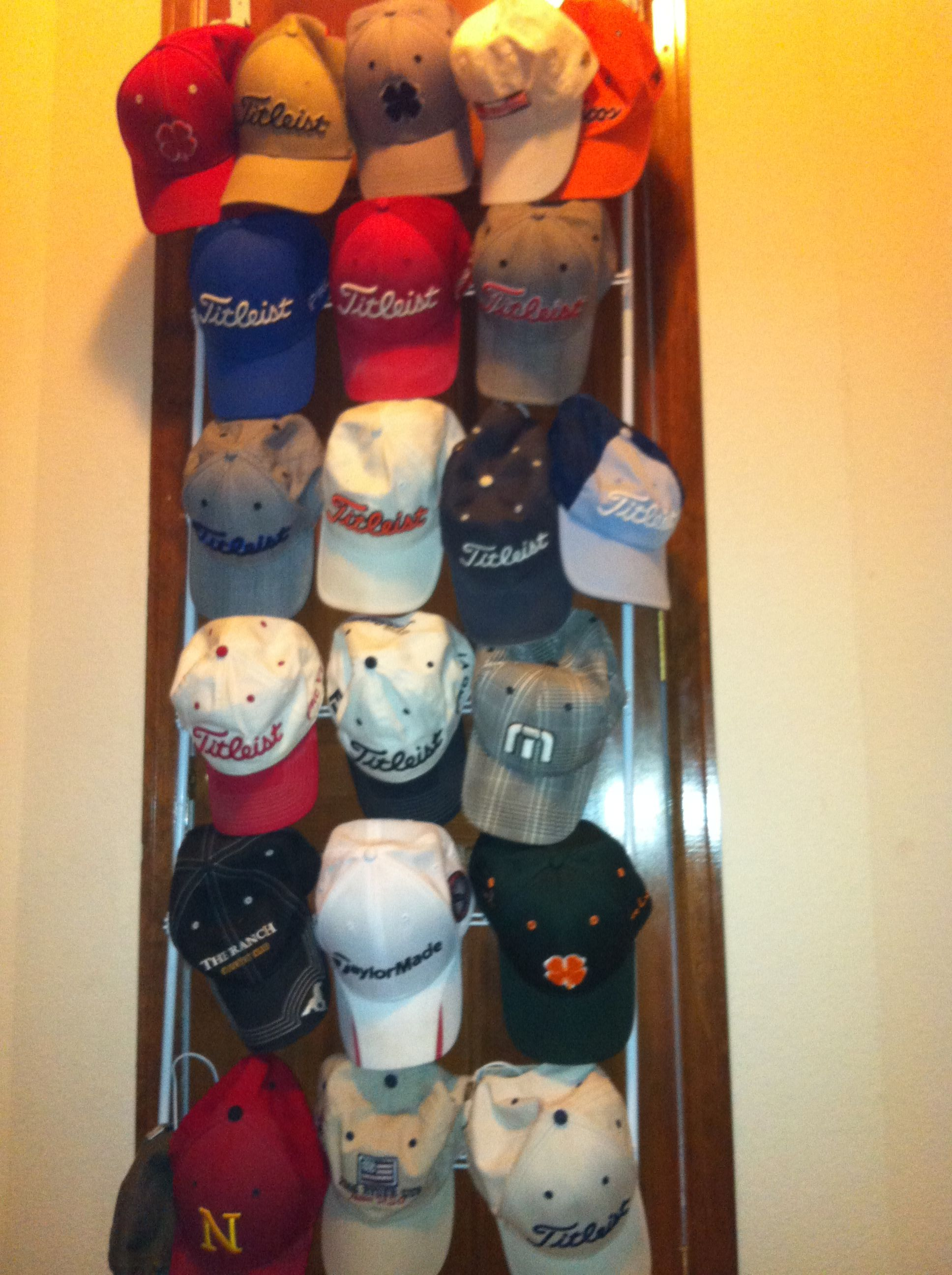 Inexpensive Hat Holder RE Organizer 18 Pair Over The Door Shoe Rack That Is  Now A Hat Rack!